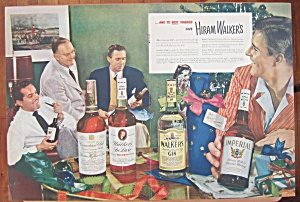 1948 Hiram Walker Gin W/men Sitting Around With Bottles