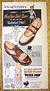 Vintage Ad: 1953 Peters Weather Bird Shoes W/ Peter Pan