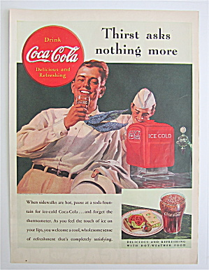1938 Coca Cola (Coke) With Man Drinking A Glass Of Coke