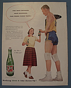 1957 Seven Up (7 Up) Soda With Girl & Basketball Player