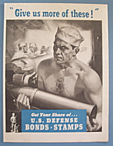 WW II Era 1942 U.S. Defense Bonds & Stamps Patriotic Ad (Image1)