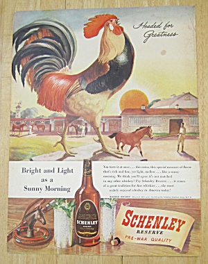 1945 Schenley Whiskey With Rooster Crowing