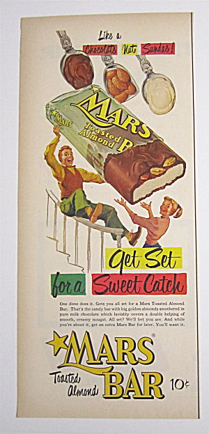 1953 Mars Candy Bars With Boy Sliding Down Banister