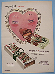 1954 Vintage Milky Way Candy Bar With Valentine Heart