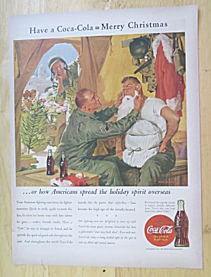 1943 Coca Cola (Coke) With Soldier Dressing As Santa