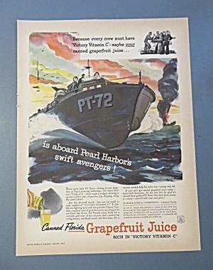 WW II Era 1943 Florida Grapefruit Juice Patriotic Ad (Image1)