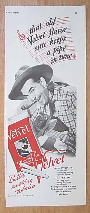 1939 Velvet Pipe Tobacco with a Cowboy & his Guitar  (Image1)
