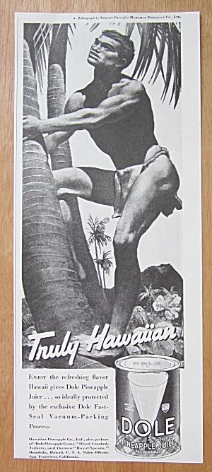 1938 Dole Pineapple Juice with Man Climbing Tree (Image1)