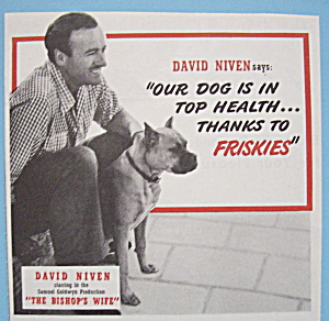 1948 Friskies Dog Food W/david Niven-the Bishop's Wife