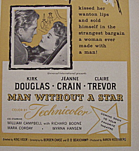 Vintage Ad: 1955 Man Without A Star w/Kirk Douglas (Image1)