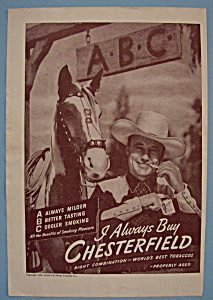 1946 Chesterfield Cigarettes with Cowboy by a Horse (Image1)