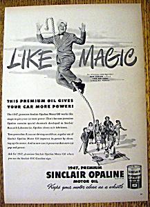 Ad: 1947 Sinclair Opaline Motor Oil w/Jack Carson (Image1)