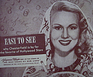 Vintage Ad:1947 Chesterfield Cigarettes W/virginia Mayo