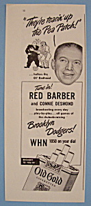 Vintage Ad: 1946 Old Gold Cigarettes W/ Red Barber