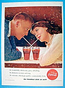 1956 Coca Cola (Coke) With Boy & Girl Sharing A Soda