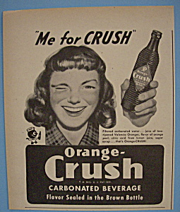 1947 Orange Crush With Woman Smiling & Winking Eye