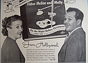 Vintage Ad: 1945 Capitol Records w/Fibber McGee & Molly (Image1)