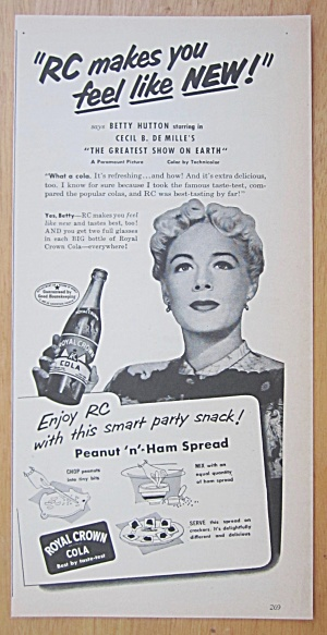 1952 Royal Crown Cola (RC) with Betty Hutton (Image1)