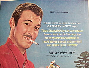 Vintage Ad:1950 Chesterfield Cigarette W/zachary Scott