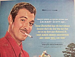 Vintage Ad:1950 Chesterfield Cigarette w/Zachary Scott (Image1)