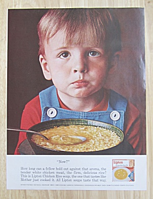 1963 Lipton Chicken Rice Soup Mix with Boy Looking Up (Image1)