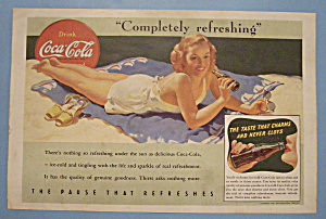 1941 Coca-cola (Coke) With Woman Laying On The Beach