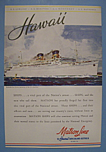 Vintage Ad: 1942 Matson Line To Hawaii (Image1)