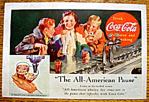 1937 Coca-cola (Coke) W/ 2 Boys & Girl At Soda Counter