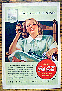 1940 Coca Cola (Coke) W/ Woman Sitting & Drinking Soda