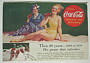 1936 Coca Cola (Coke) With Two Women On The Beach