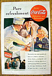 1937 Coca-cola (Coke) With Soda Boy Filling Glasses