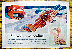 1937 Coca-cola (Coke) With Bottle Laying In The Snow