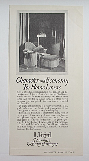 1926 Lloyd Furniture & Baby Carriages w/Chair & Ottoman (Image1)