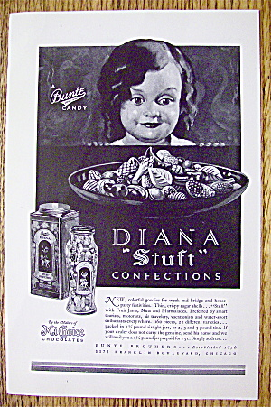 1930 Bunte Diana Stuft Confection Candy W/ Little Girl