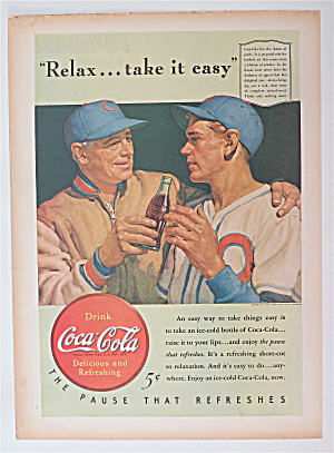 1940 Coca Cola (Coke) With Coach Giving Player A Soda