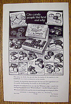 1930 Whitman's Sampler Chocolates With Variety Of Candy