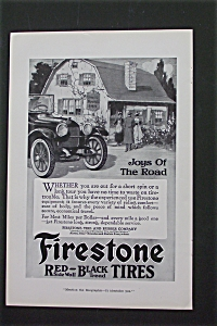 1916 Firestone Red-Black Tires with Car in Front of Inn (Image1)
