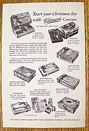 1931 Whitman's Candies with Prestige, Fussy & More (Image1)
