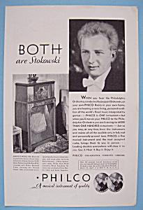 Vintage Ad: 1932 Philco Radio w/ Leopold Stokowski (Image1)
