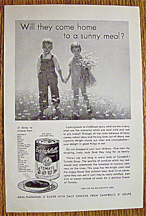 1932 Campbell's Tomato Soup With Children In Field