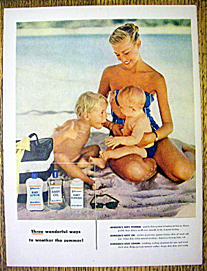 1955 Johnson's Baby Oil, Lotion & Powder w/Woman & Kids (Image1)