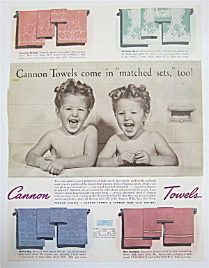1940 Cannon Towels with Two Little Girls in the Bathtub (Image1)
