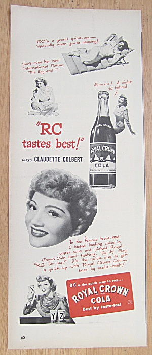 Vintage Ad: 1946 Royal Crown Cola W/ Claudette Colbert