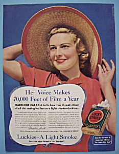 Vintage Ad: 1937 Lucky Strike Cigarettes w/ M. Carroll (Image1)