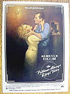 Ad:1981 The Postman Always RIngs Twice w/Jack Nicholson (Image1)
