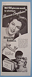 Vintage Ad: 1942 Lux Toilet Soap W/rosalind Russell