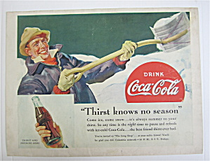 1938 Coca Cola (Coke) With Man Shoveling Snow