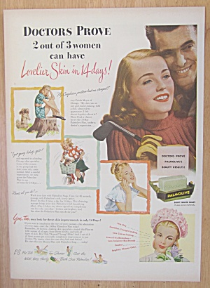 1946 Palmolive Soap with Woman & Man Smiling  (Image1)
