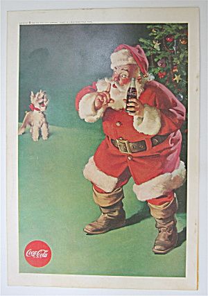 1961 Coca Cola (Coke) w/ Santa Claus Shushing A Dog  (Image1)