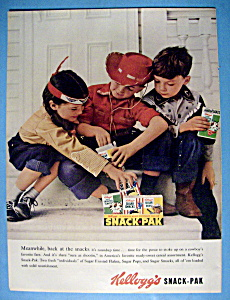 1957 Kellogg's Snack Pak With Children Picking A Box